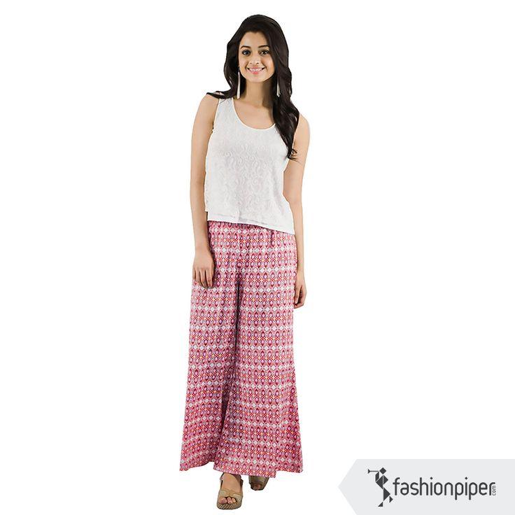 Super comfy #Pink #Palazzos Order : http://www.fashionpiper.com/women/western-wear/women-bottom-wear/think-pink-palazzo-1388.html