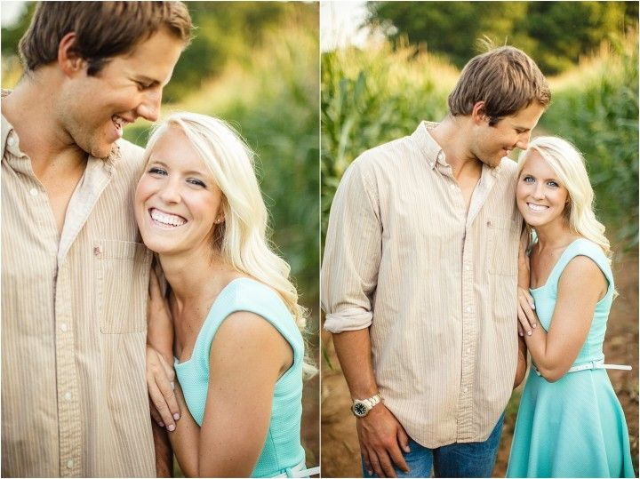 Farm engagement photos in a corn field. Click to view more photos!