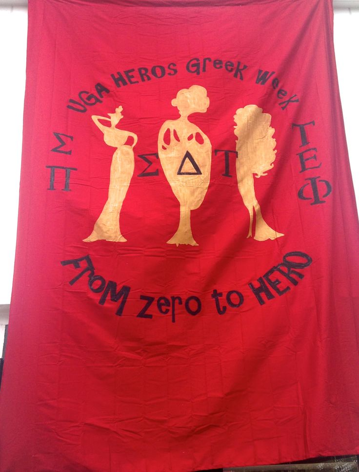 """UGA Sigma Delta Tau banner for HEROs Greek Week competition """"From zero to HERO"""""""