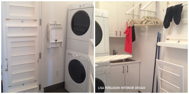 """We just completed a thoughtful laundry room or more accurately - a """"closet"""". Such a small space for a $3M condo. The mandate was ALL about FUNCTION [ wish I could have wallpapered the walls! ] See what we did:  1-Inside of both doors: custom drying racks for up to 16 items and drip trays [ just to be sure we are all good when the doors open over the hardwood! ] which can fold flat.  2-Wall mount, folding ironing board  3-Wall mount folding hanger valets for 30 shirts/pants"""