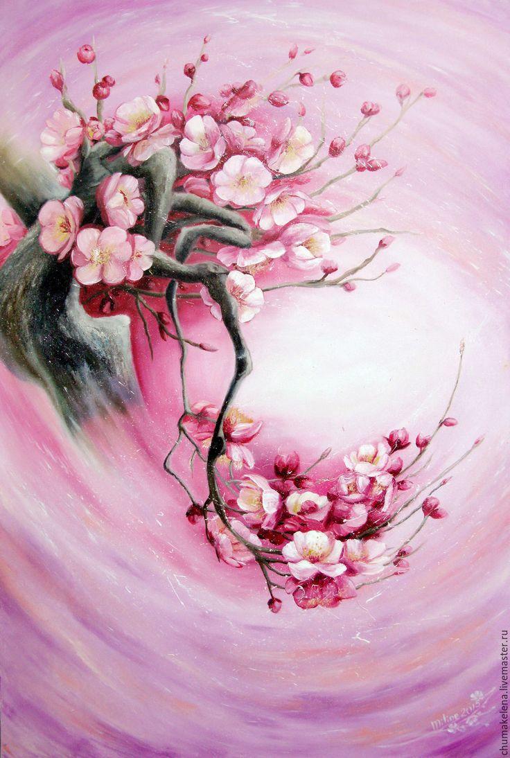 Купить «Цветения жизни», картина маслом - комбинированный, сакура, япония, любовь, цветок, зарождение жизни