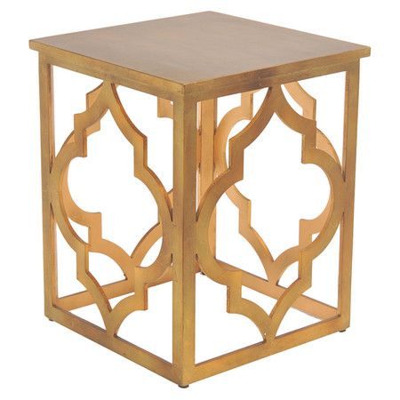 a perfect addition to your living room or den this square end table showcases a rich gold hue and openwork quatrefoil base product end table