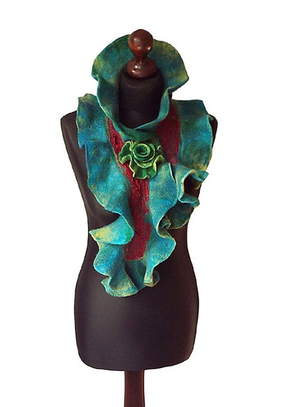 Nuno felted collar/ scarf made from finest Australian merino wool and silk fabric. Handmade nuno felt technique. Collar with felted flower brooch - metal pin closure.  Size: length: 99cm (38,98) width: 20cm (7,87)  Colors: shades of turquoise, shades of green, petrol blue, petrol green, red. Visit my fan page on Facebook: www.facebook.com/pracownia.artystyczna.arteduo  More scarves you can find here: www.etsy.com/shop/MarlenaRakoczy?section_id=14901313&ref=shopsection_leftnav_1