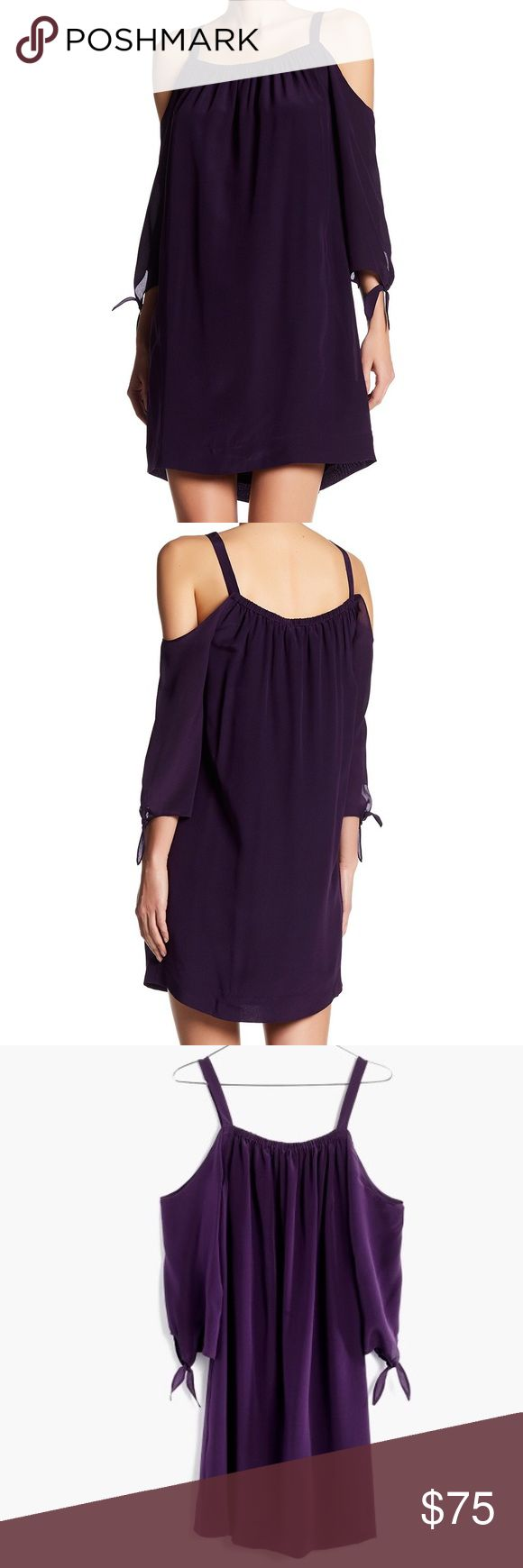 Madewell Silk Cold Shoulder Purple Dress Sz 8 Madewell Silk Cold Shoulder Dress. Size 8. Dark Purple. 3/4 Sleeves with adjustable ties cuffs. Adjustable straps. Elasticized scoop neckline. Fully lined. Shell - 100% Silk / Lining - 100% Polyester. Madewell Dresses