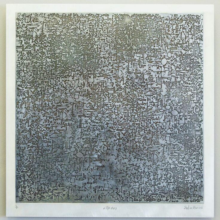 Stefan Blom 'A life story'  part of 'DShK' (760mm x 770mm acid etch on aluminium)