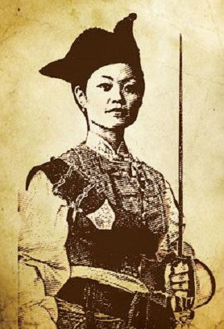 This is Ching Shih. She was working as a prostitute on a floating brothel in 1800 when it was captured by pirates. She managed to seduce and marry the captain. when he died, she took control of his fleet of 1,500 ships. She was notoriously fearsome and ruled with an iron fist; castrating rapists and fighting against naval forces. In 1810, she accepted an amnesty offer from the government and retired from a life of piracy to open a gambling house. She died at the age of 69.