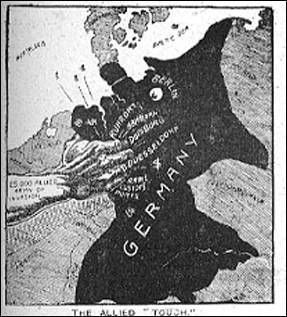 This cartoon represents how the treaty of versailles completely destroyed germany by taking away some of their land. It pretty much grabbed Germany by the neck.