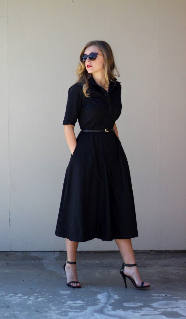 vestido chemise preto cinto preto
