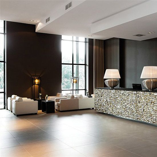 Lobby Interior Design Ideas: Sleek Modern Large Format Tile For This Luxe Hotel Lobby