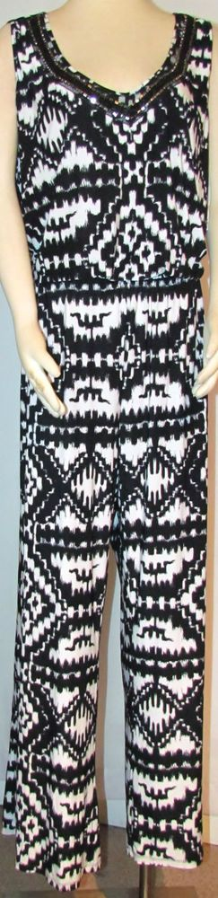 NEW Womens Ladies Plus MACY'S INC Black & White Stretch Jumpsuit 2X Orig $109 #INCInternationalConcepts #Jumpsuit