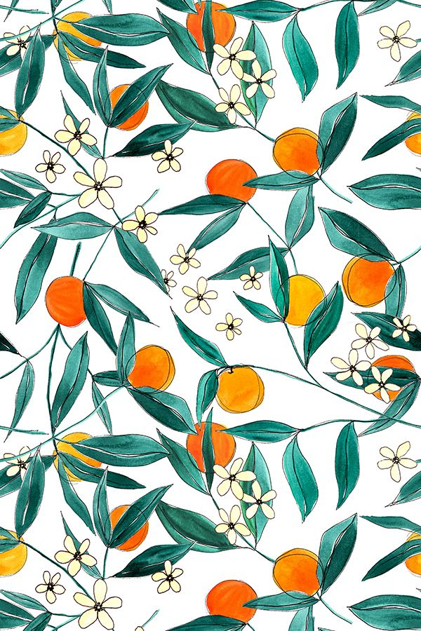Orange Summer by theory and ink.  A bright and cheerful pattern of tossed mandarin oranges. This design looks great when paired with a textural touch, such as a burlap ribbon!  Available in fabric, wallpaper, and gift wrap.