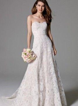 Vestido de noiva Renda Cauda Pequeno Cintura Natural