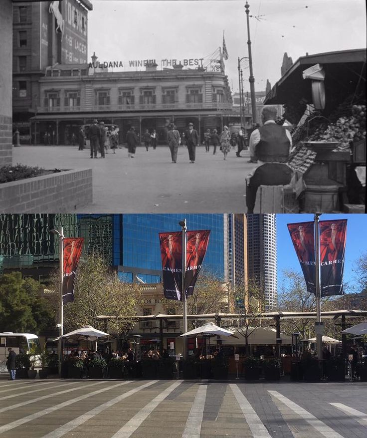 The courtyard in front of Customs House, Circular Quay 1920's > 2016. [State
