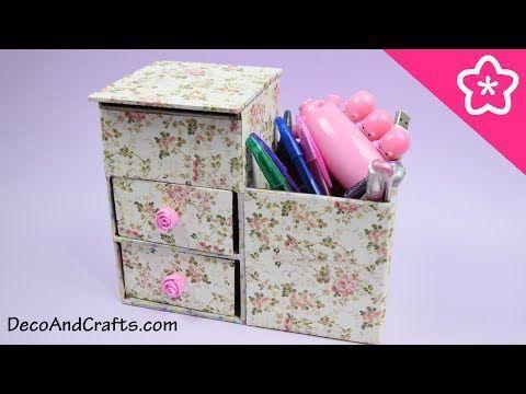 DIY Mini Organizador multiusos de cartón - DecoAndCrafts - YouTube