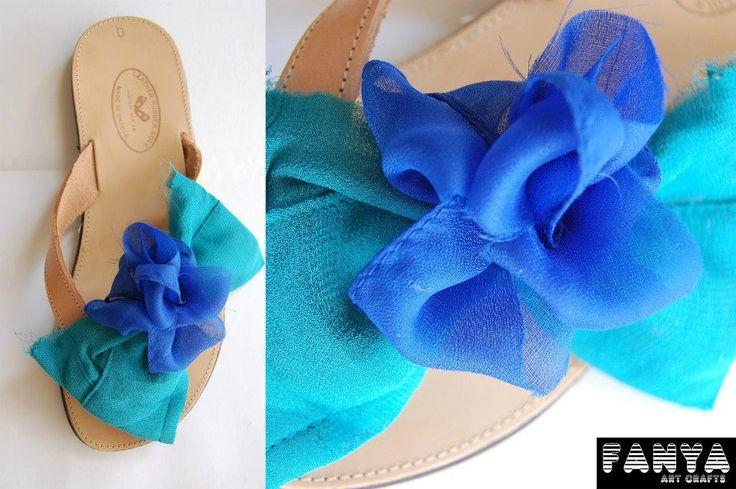 """handmade sandals """"navy fleur"""""""