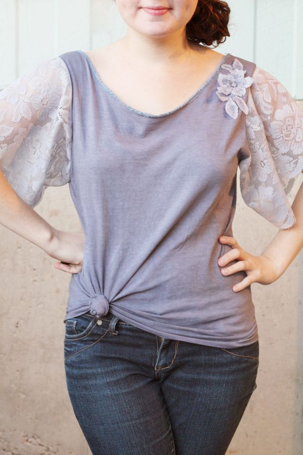 Lace & Dye Top   Community Post: 29 Ways To Makeover A Boxy Men's T-Shirt