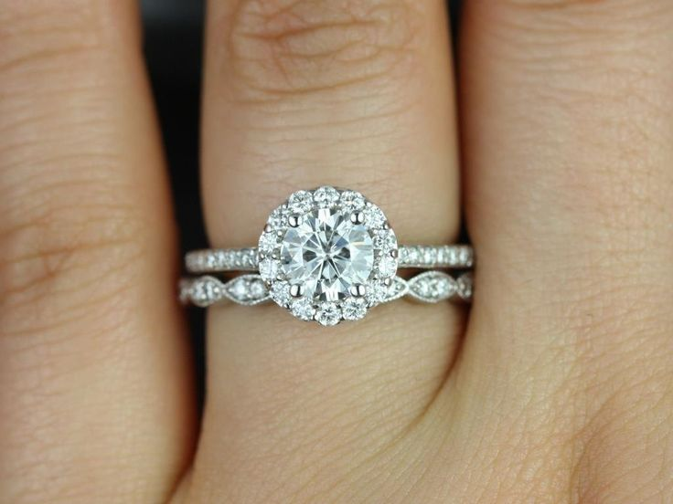 Marisol 6mm & Christie 14kt White Gold Round Halo FB Moissanite and Diamonds Wedding Set (Other metals and stone options available) by RosadosBox on Etsy https://www.etsy.com/listing/185118249/marisol-6mm-christie-14kt-white-gold