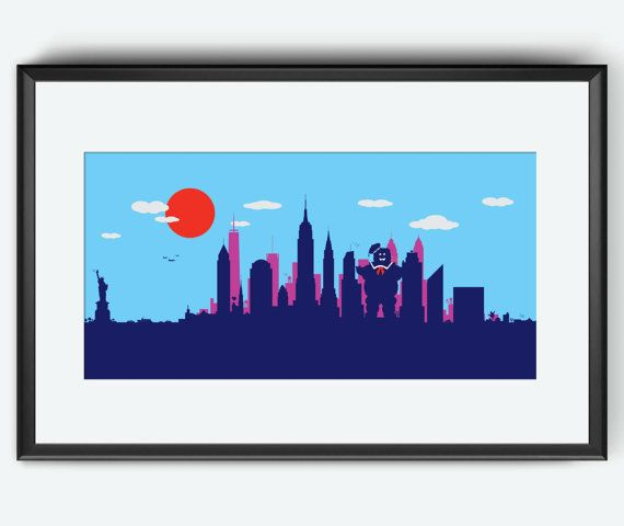 New York Skyline art print Stay Puft by SKYWORLDPROJECT on Etsy