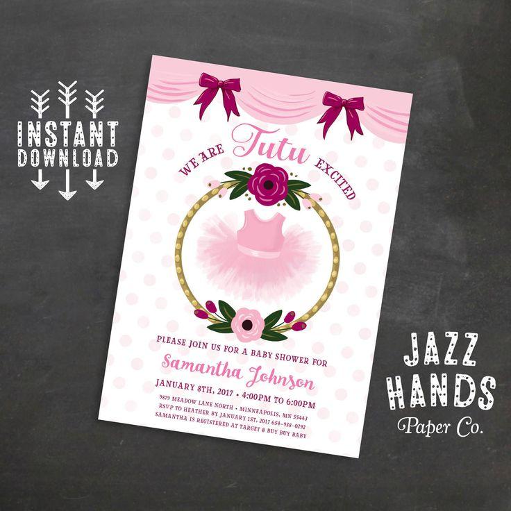 Tutu Baby Shower Invitations, Girls Baby Shower Invitations, Pink, Floral, Tutu Invite, Tutu Cute, Tutus, Ballet, Ballerina by JazzHandsPaperCo on Etsy