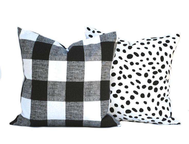 Two Black pillow covers, decorative throw pillow, decorative pillow, accent pillow, Black Throw Pillow, Plaid Pillow, polka dot Pillow by ThatDutchGirlHome on Etsy