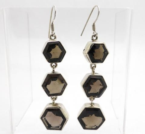 Smoky Quartz Earrings 3 hexagonal faceted stones | 925 Sterling Silver | Crystal Heart Melbourne Australia since 1986
