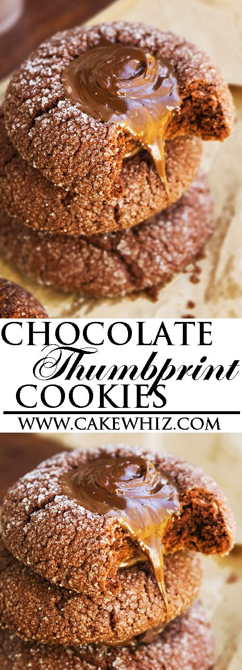 These quick and easy CHOCOLATE THUMBPRINT COOKIES with ganache are made from scratch. These chocolate thumbprints are crispy on the outside but soft and chewy on the inside. From cakewhiz.com