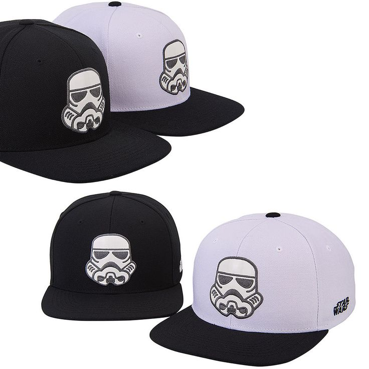 Mens Womens STAR WARS Stormtrooper Face Black White Baseball Snapback Hats Caps #hellobincom #BaseballSnapbackCapHats