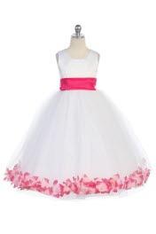 Hot Pink Satin & Tulle Flower Girl Dress with Petals & Sash - Flower Girl Dresses