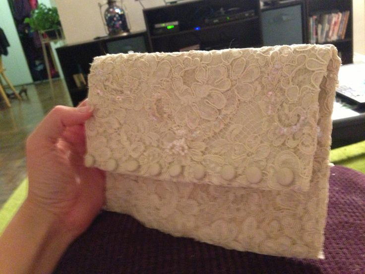 Wedding clutch made with mother's wedding dress pieces.