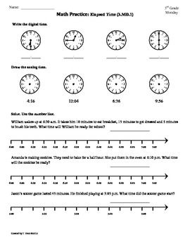 (3.MD.1) Elapsed Time part1 -3rd Grade Common Core Math ...
