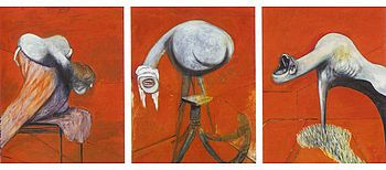 Three Studies for Figures at the Base of a Crucifixion -- Francis Bacon
