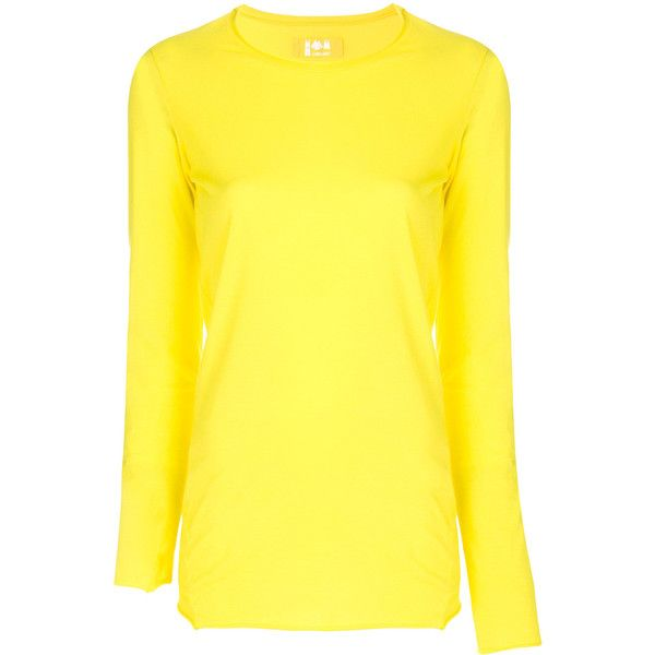 Labo Art long sleeved T-shirt ($135) ❤ liked on Polyvore featuring tops, t-shirts, yellow, yellow long sleeve t shirt, yellow tee, long sleeve tops, yellow long sleeve top and longsleeve tee