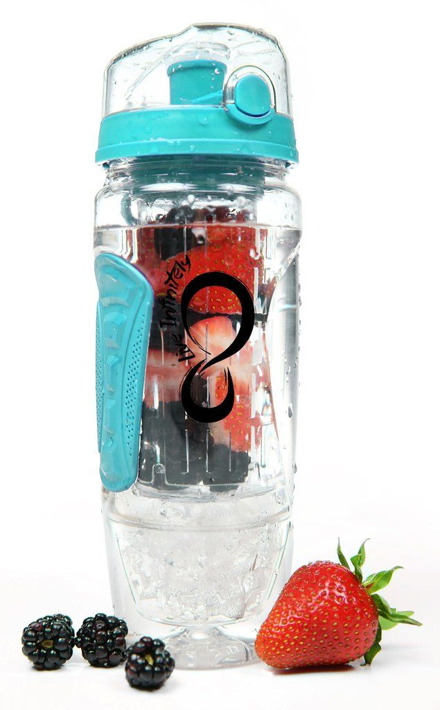 Fruit Infused Water Bottles - 32 Oz. Infuser Water Bottle & Reusable Gel Freezer Ball