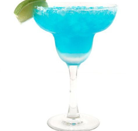 Blue Margarita   Ingredients:  -2 oz tequila  -2 oz Blue Curacao  -1 ounce of lemon juice  -1 ounce of lime juice  -6 oz pineapple juice  -Lime wedges and cherries for garnish  -Salt or sugar to rim the glasses
