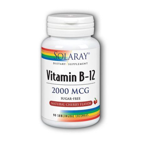 Solaray Vitamin B-12 Cherry 2000 mcg - 90 Sublingual Lozenges