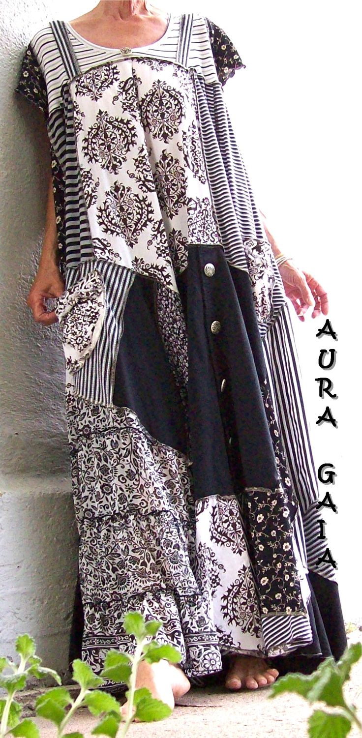 AuraGaia ~ Between The Lines ~ upcycled patchy poorgirl dress