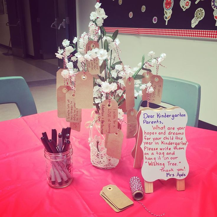 "Meet the Teacher Night Idea: Parents Write Their ""Hopes & Dreams"" for Their Child on a Little Tag for the ""Wishing Tree"" (from Allie, Joys of Kinder via Instagram: https://www.instagram.com/p/BKCm2kxA6SJ/?taken-by=joysofkinder)"