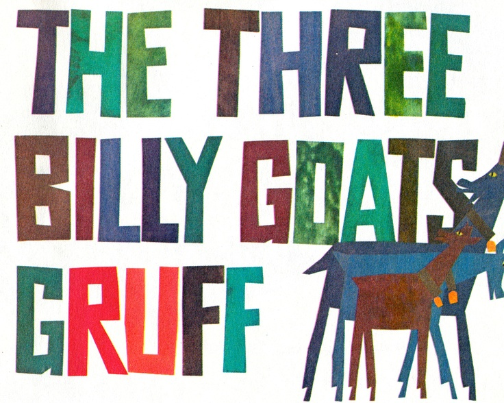 """""""Three Billy Goats Gruff"""" from May I Come In, 5th grade reader, 1969. More @Michael Newhouse and http://newhousebooks.tumblr.com"""