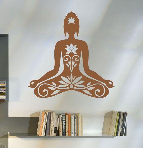 Wall Decal Buddha Silhouette India Asian Buddha Yoga By