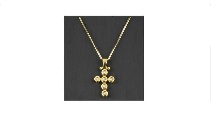 Choker en kruis in 18 kt geel goud met 6 briljant geslepen diamanten ten bedrage van 030 ct - lengte: 42 cm  EUR 1.00  Meer informatie