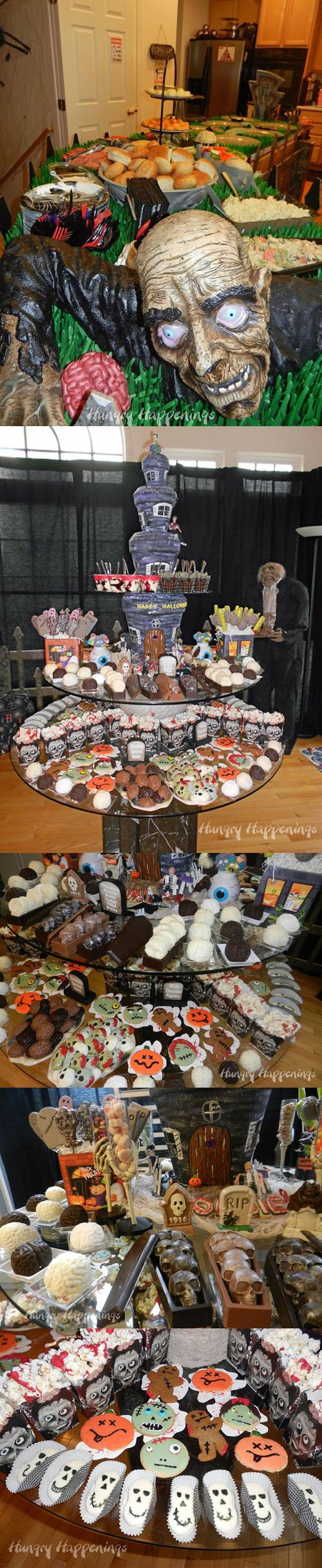 Every Zombie Halloween party should have a dessert table spread like this. AMAZING! The ZomBeatles -- A Hard Day's Night of the Walking Dead! Halloween Party Decorations & Ideas