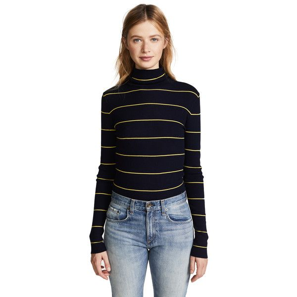 Theory Striped Long Sleeve Crop Turtleneck ($250) ❤ liked on Polyvore featuring tops, turtle neck crop top, crop tops, blue long sleeve top, striped long sleeve top and striped top