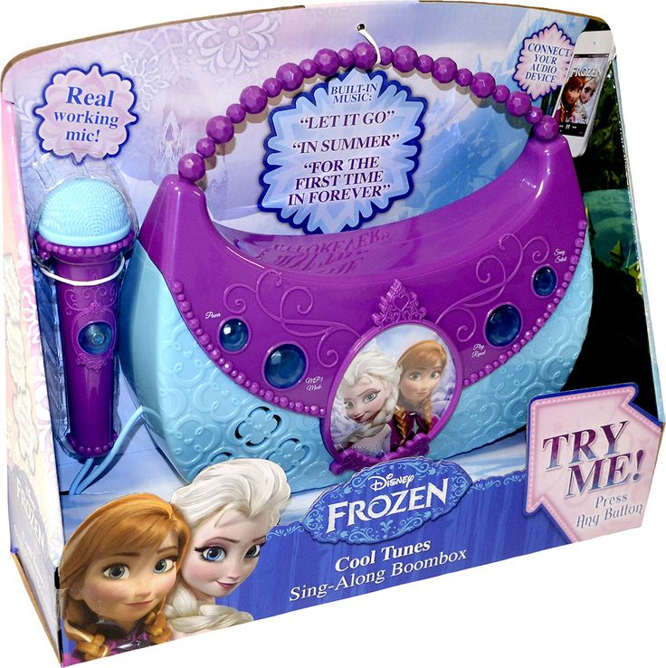 KIDdesigns - Disney Frozen Cool Tunes Light Up Boombox Sing-Along Karaoke System - Purple Blue and White