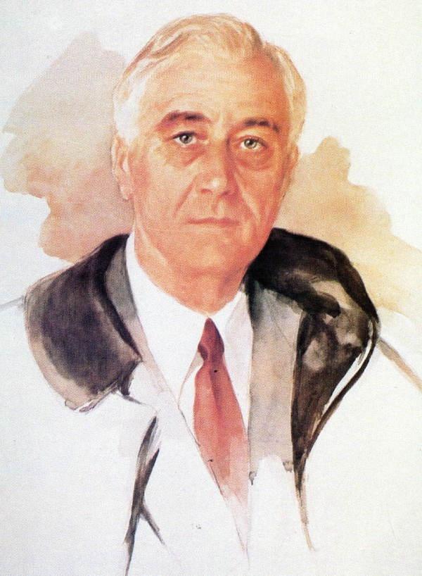 Color portrait of President Franklin Roosevelt