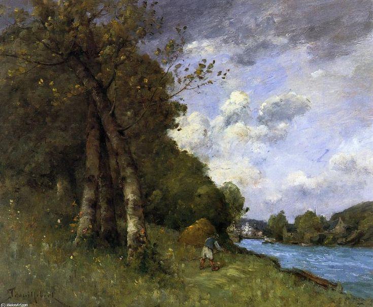 Fenaison en Bretagne sur les rives de la rivière, huile sur toile de Paul Désiré Trouillebert (1829-1900, France)