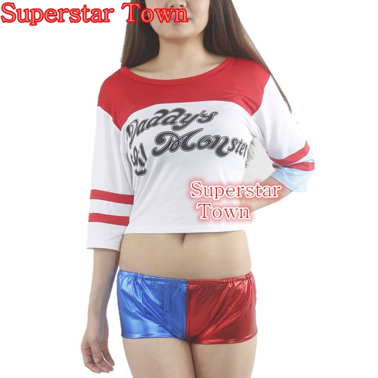 Harajuku Sudaderas Mujer Harley Quinn T Shirt Shorts Batman Movie Joker 2016 Arkham Game Disfraces Adulto