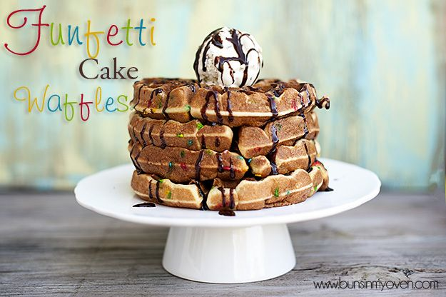 cake mix waffle recipe1 box Funfetti Cake Mix 1 cup water 1/3 cup oil 3 eggs  Read more at http://www.bunsinmyoven.com