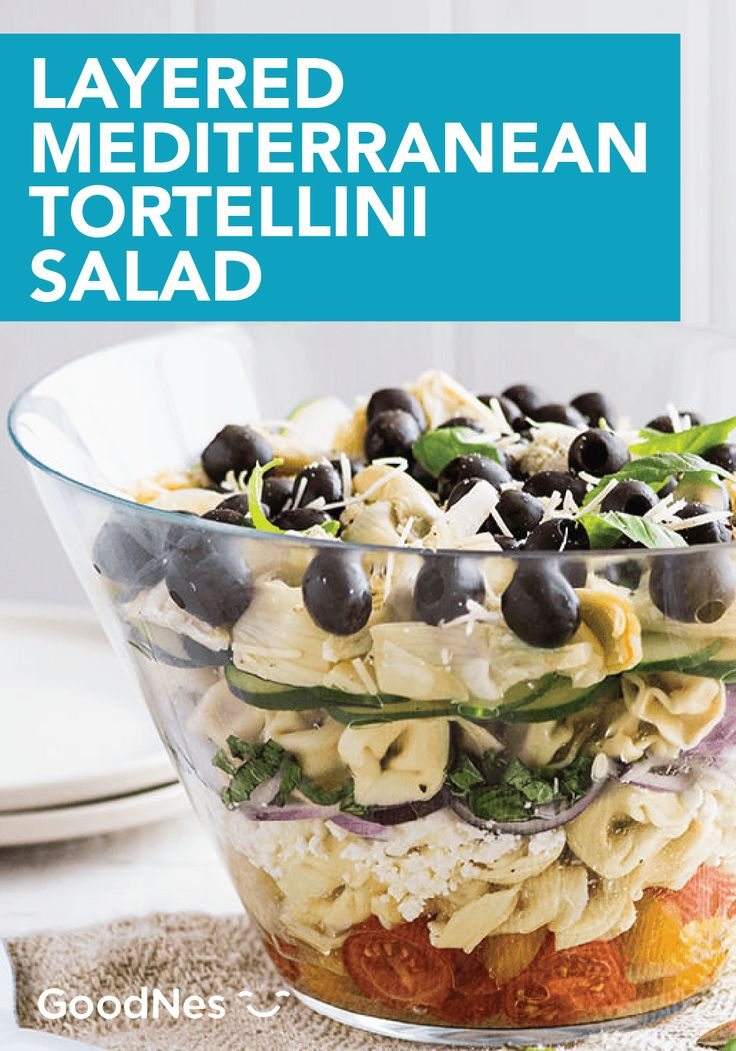 Build this Layered Mediterranean Tortellini Salad for your next dinner party. This flavorful dish is made with Buitoni® Refrigerated Three Cheese Tortellini and Freshly Shredded Parmesan Cheese. Your guests will love every bite.