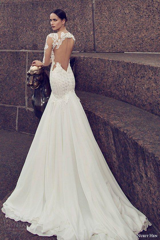 nurit hen 2016 bridal illusion long sleeves split sweetheart neckline mermaid embellished bodice sexy glam wedding dress / http://www.himisspuff.com/open-back-wedding-dresses/5/