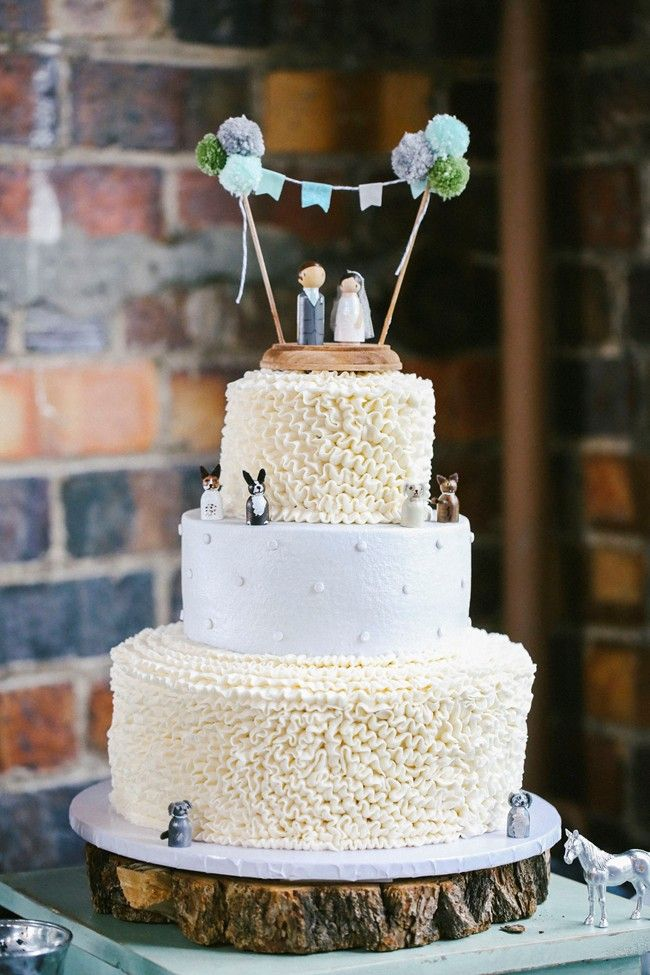 Quirky wedding cake with family pets mini toppers  Vintage wedding cute quirky mint silver   Chelsieburkhart.com